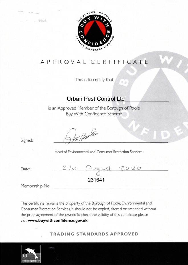 Urban Pest Control are Trading Standards Approved in Dorset